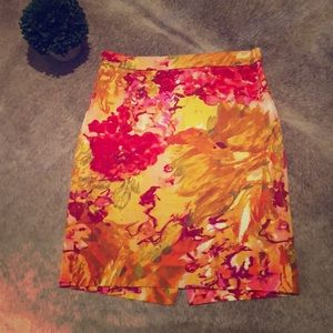 J Crew watercolor floral pattern skirt
